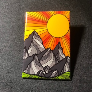 Retro Mountain Art Mountain Themed Kitchen Fridge and Locker Decor Gifts for Hikers and Travelers Psychedelic Mountain Magnet