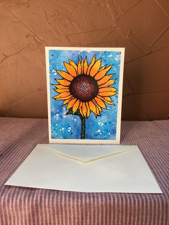 kansas sunflower blank greeting card flowers on the prairie etsy