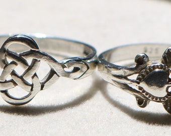 ddb2a2241 Pair Of Original Irish Celtic Love Knot And Claddagh Sterling Silver Rings
