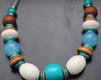 Chunky Turquoise Translucent Aquamarine & Milk Beads Choker Necklace