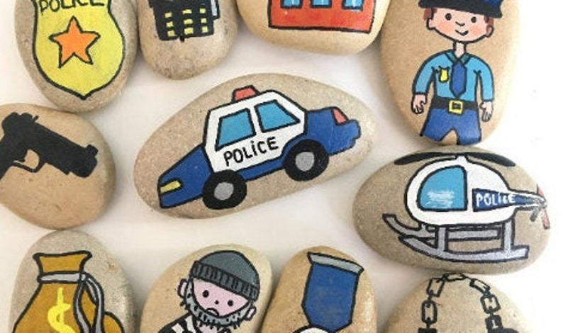 Police story stones gift Police gift for boy Fun play