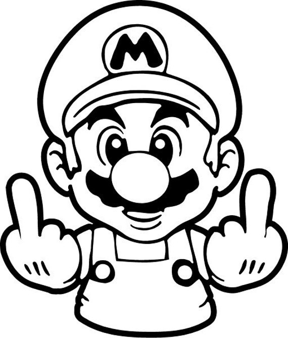 Mario Middle Finger Vinyl Decal/ Sticker Car Sticker | Etsy