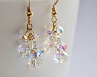 Swarovski AB Crystal and Gold Plated Drop Earrings