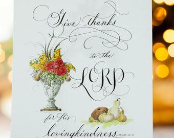 Psalm 107:8 Scripture Print (Hand Lettered and Hand Painted)