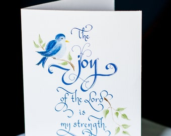 Nehemiah 8:10 Set of 8 Hand Painted and Hand Lettered Scripture Note Cards