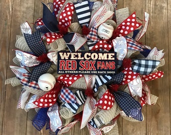 Boston Red Sox Baseball wreath, front door wreath, Red Sox wreath, Boston wreath, GO sox wreath, baseball gift, Sox fans, free shipping