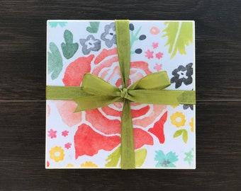 Tile Coasters, Vibrant Rose