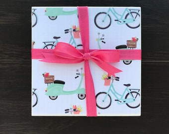 Tile Coasters, Vintage Green Bikes