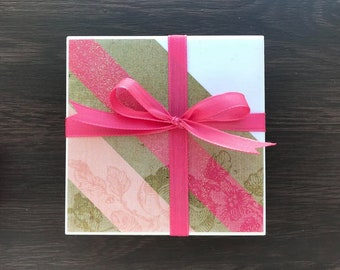 Tile Coasters, Brown and pink with flowers
