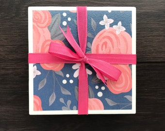 Tile Coasters, Blue with Pink Roses