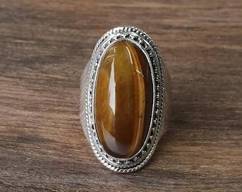 Tigers Eye Ring Oval Gemstone Ring Gift For Her Wedding Gift  R1648 Tiger Eye Ring Sterling Silver Ring July Birthstone Ring