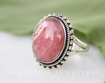 alloy brass ring Rhodocrosite Ring,Pink color Gemstone Brass ring ring gold metal ring dainty ring statement ring gold band color ring