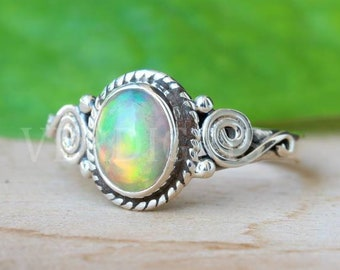 Opal Silver Ring  925 Sterling Silver Ring  Pear Cabochon Ring  Multi Fire Gemstone Ring  Solid Silver Ring Opal Multi Fire Boy/'s Ring