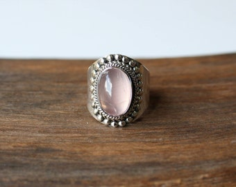 72ff8b7c6 Natural Rose Quartz ring, Bold Sterling Silver Statement ring, alternative  engagement ring, 100% handmade, vintage & native American style