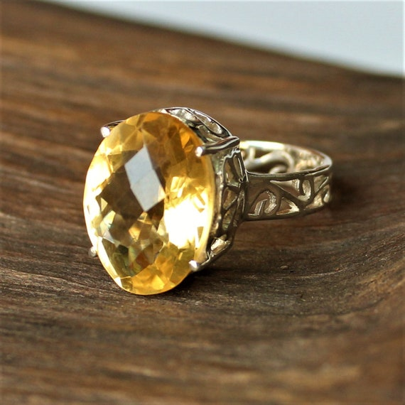 Natural Citrine ring made in sterling silver cocktail ring alternate engagement ring