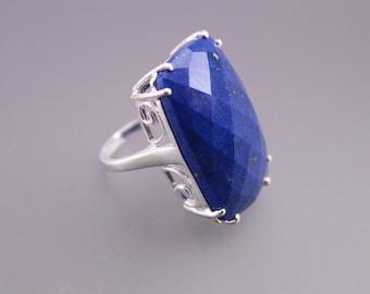 Natural lapis lazuli ring, Sterling Silver cocktail ring, bridesmaids ring, alternative engagement ring
