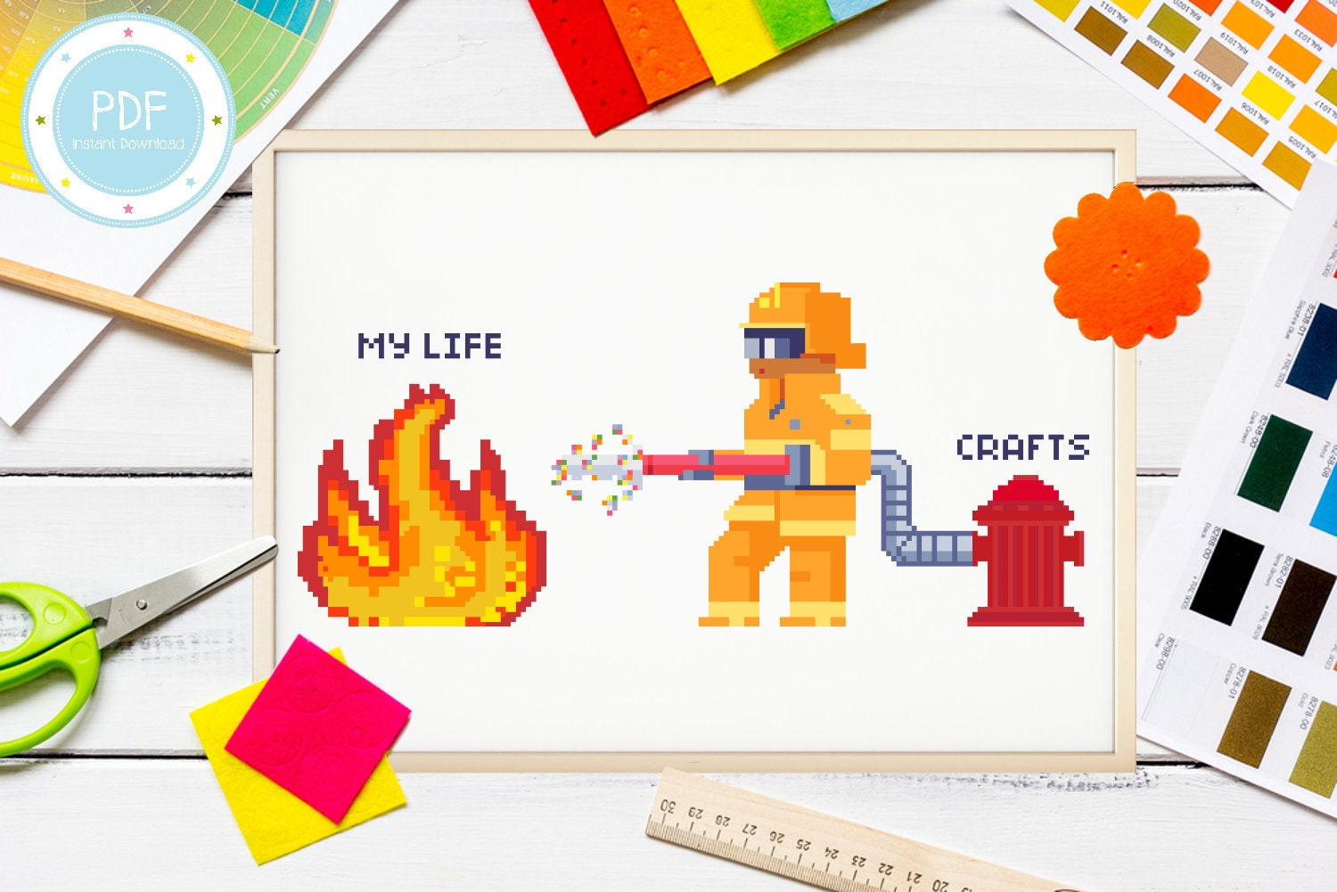 Cute and Quirky Craft Firefighter Funny Cross Stitch Pattern PDF Instant Download