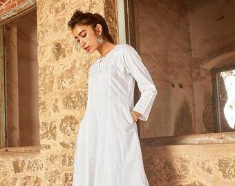dfaccc56d0 White cotton tunic, White cotton dress, White tunic and palazzo set, White  long kurti, White long kurta, Kurta set, Indian white dress