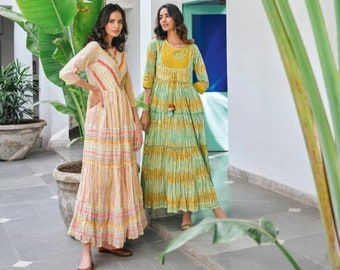 Buy 2 Get 1 Free  - Peach Block print Floral Maxi dress, Summer Boho Style Long Printed Dress Women, Blue Ethnic cotton dress, Aqua dress
