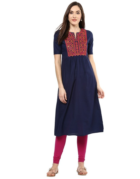 Cotton tunic Ethnic cotton tunic Boho style dress Indian kurta embroidered dress A-Line dress Ethnic dress Indian kurti Ethnic tunic