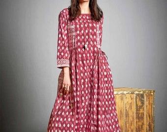 Pink maxi dress, Prom Dress, Block print Dress, Summer Dress, Vintage Wedding Dress, Boho Wedding Dress