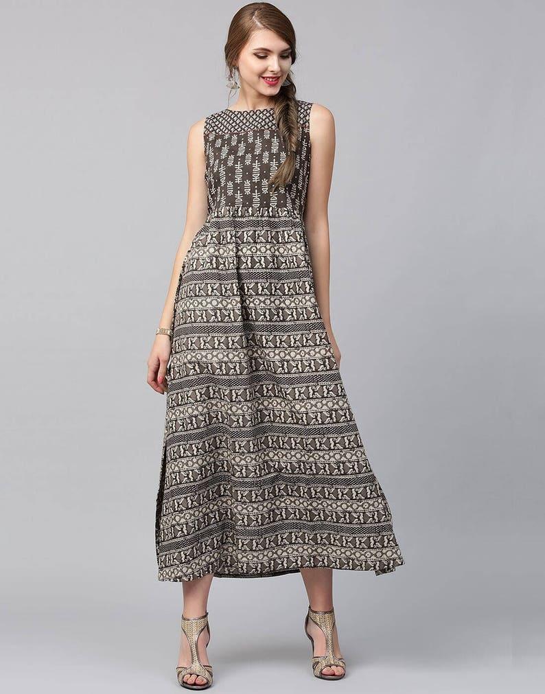 d9f1bc21800c2 Maxi cotton dress, Brown dress, Indian summer dress, Indian printed dress,  Geometric Cotton dress, Ethnic cotton dress, Indian tunic
