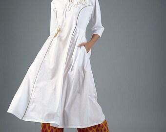 White cotton oversize dress with orange palazzo