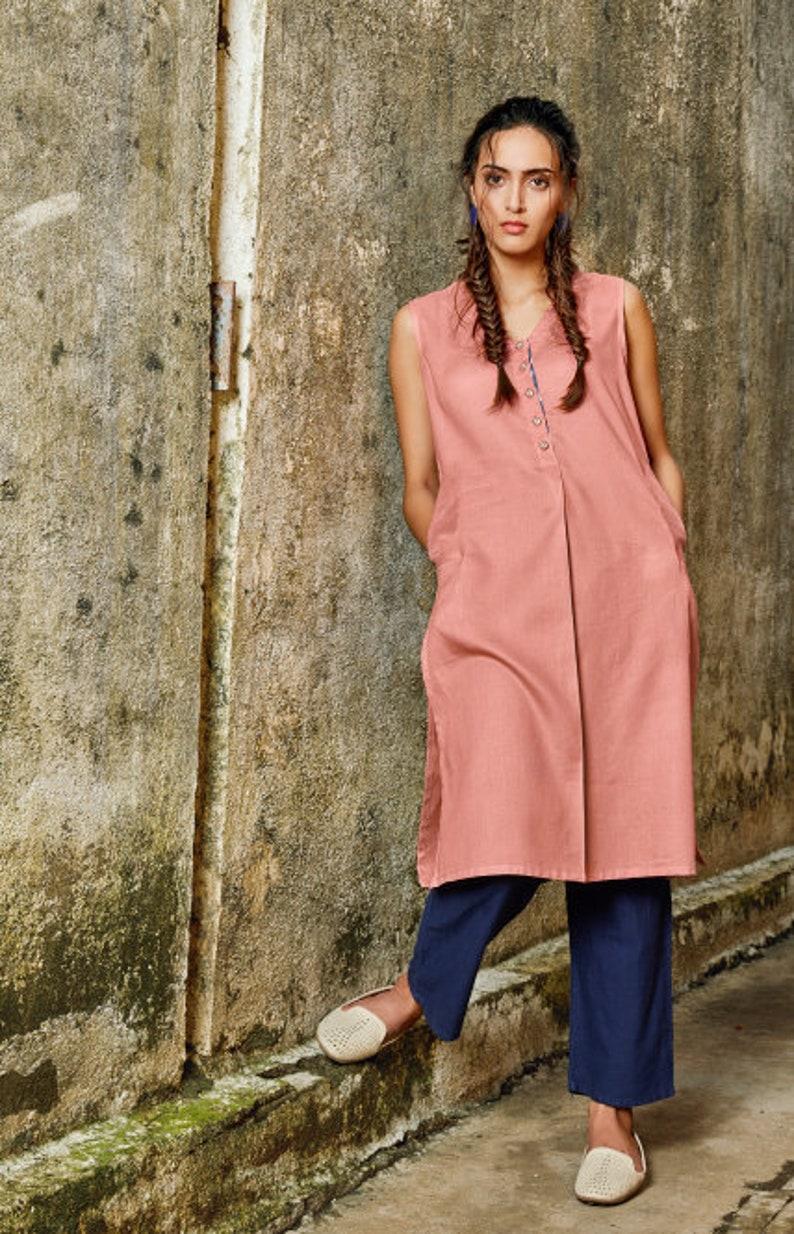 Soft cotton dress Modest Dress Casual dress Modest tunic Stripes tunic Pastel Pink cotton tunic Cotton dress Tunic Stripes Dress