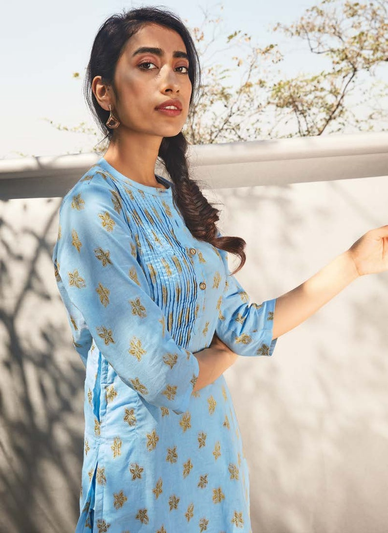 Indian cotton tunic Sky blue kurti Gold Jacquard cotton tunic Indian dress Modest dress Blue Cotton Tunic Cotton women kurta