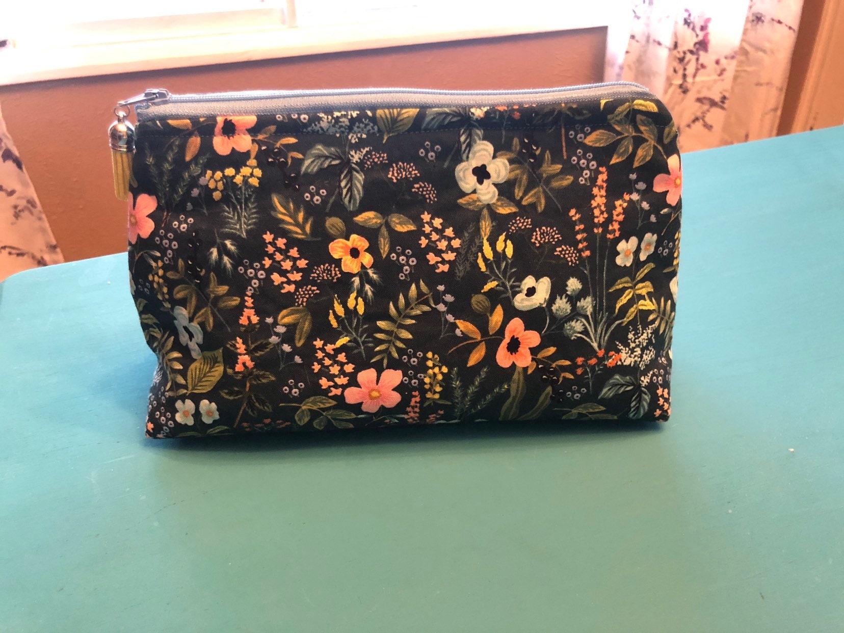 dc49e865f8fa Floral makeup bag. Floral pouch. Floral handmade pouch. Floral handmade  makeup bag. Stripped makeup bag. Stripped pouch.