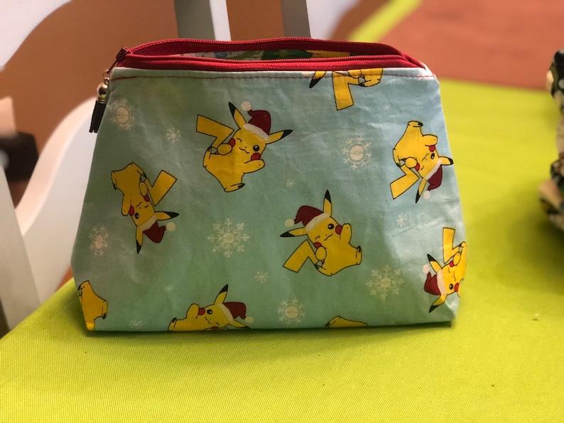 ce89e03977ed Pikachu bag. Pokemon bag. Handmade Makeup bag. Pokemon. Pikachu makeup bag.  Anime. Pencil bag. Travel bag.