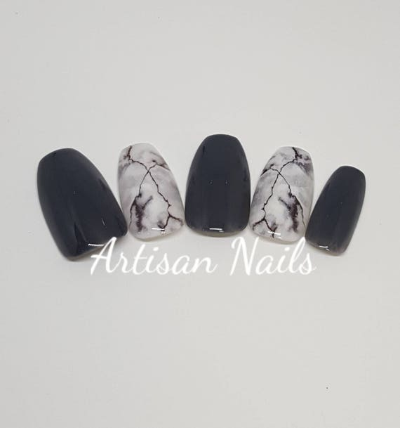 Blackwhite With Marble Effect Design Nails Hand Painted Gel Etsy