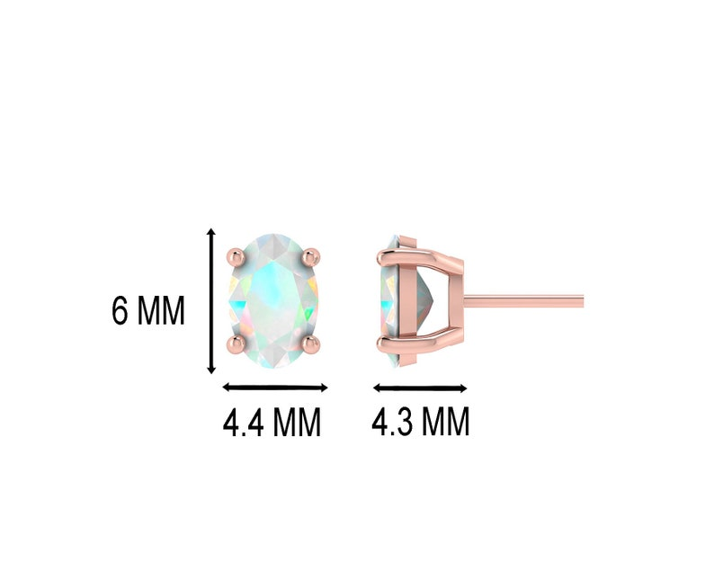 14K Fine Gold With 0.6 Carats Natural Opal Oval Shaped Earrings For Girls With Silver Silicon Post