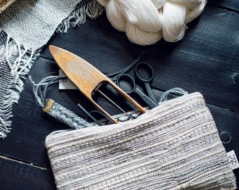 """Handwoven linen make up bag 10""""x6"""" Wallet High quality pencil case Great gift for her"""