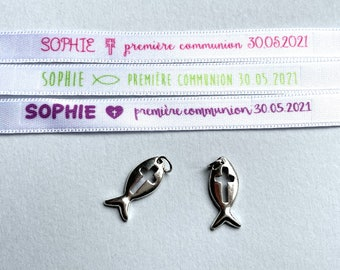 Personalized communion ribbon bracelet
