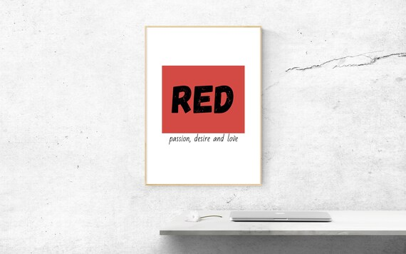 Wall art print modern poster download red Home office decor   Etsy