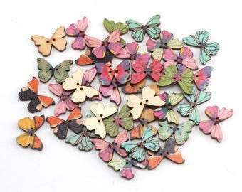 wooden butterfly shaped buttons