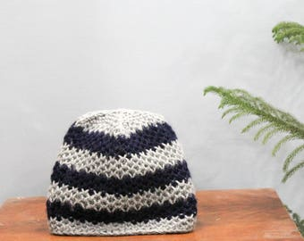 Grey And Blue Honeycomb Hand knit Beanie
