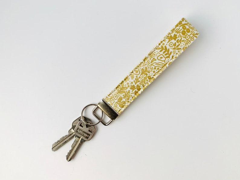 keychain lanyard Cream lace wristlet key fob cute key holder