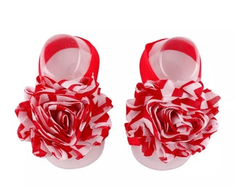 Red and White Barefoot Sandals (free shipping)