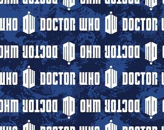 "1/2 Yard BBC Doctor Who Logo Stripe- 100% Cotton Fabric 44"" Wide - Creative Springs TARDIS"