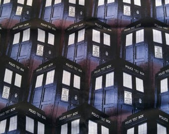 """1 Yard BBC Doctor Who Packed TARDIS - 100% Cotton Fabric 44"""" Wide - Creative Springs CP51563"""