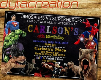 Superhero Invitation.Dinosaurs Invitation.Dinosaurs Birthday.Superhero Party.Superhero Printable.Dinosaurs Vs Superhero Invitation-DA