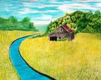Original landscape drawing, Art, colored pencils, not a print