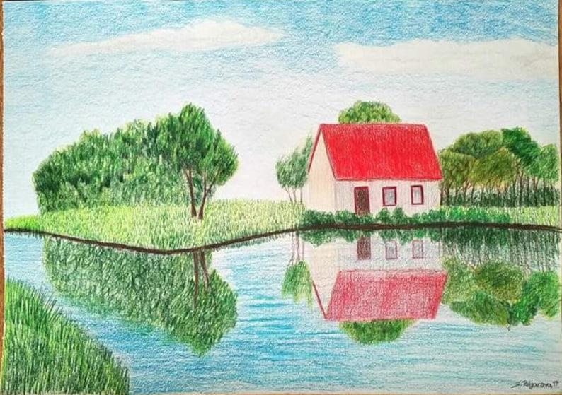landschap van de tekening gekleurde potlood tekenen kunst | etsy