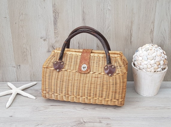 Vintage wicker handbag with lining, Bohemian, Wick