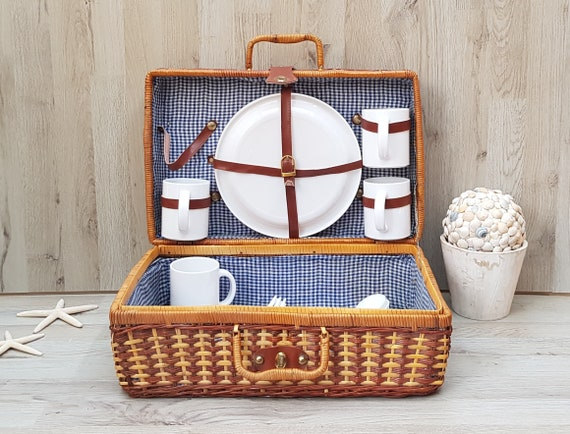 Large Vintage  picnic basket wicker woven white w red gingham lining farmhouse rustic country decor french market basket