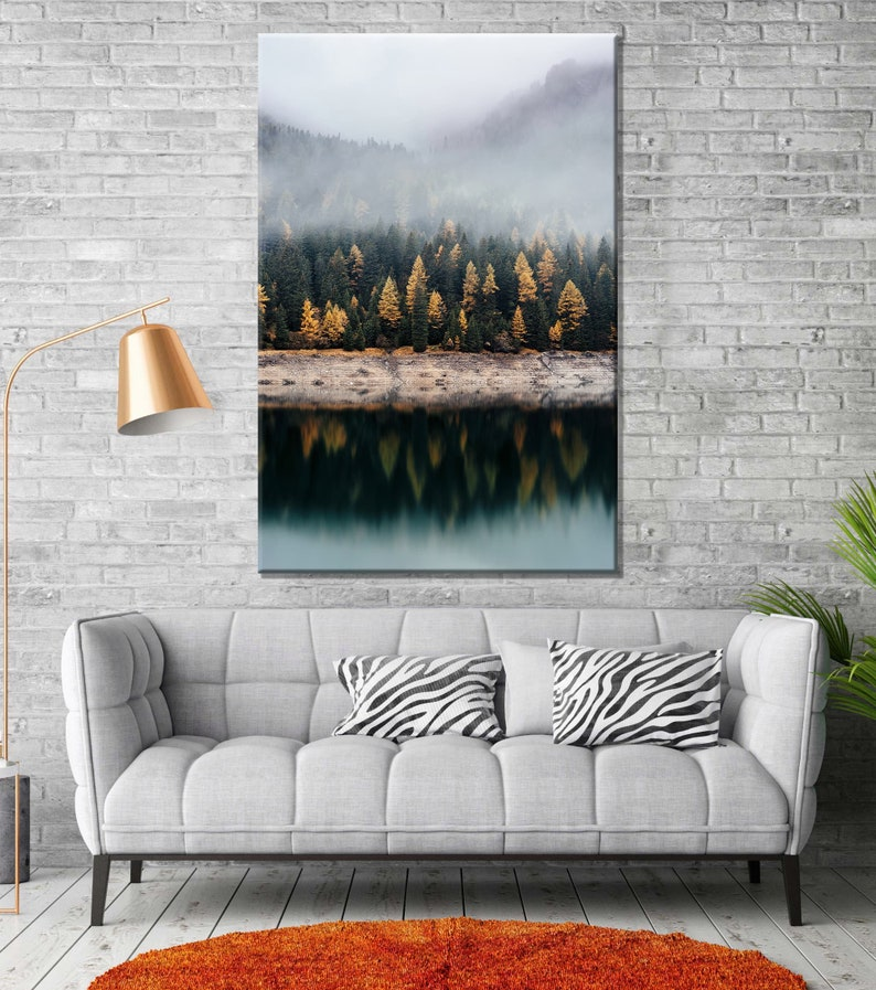 Lake Foggy Forest Canvas Wall Art Decor Print Ready to Hang Gift