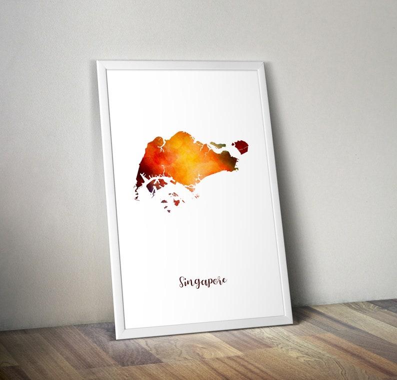 Singapore, Singapore Map, Singapore art, Singapore print, Travel poster art