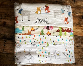 Friends of Forest Picnic Gender Neutral Handmade Baby Quilt Cotton Blanket